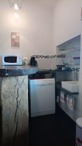Coin cuisine : micro onde , bouilloire, cafetière, 2 plaques vitroceramique, évier,  lave vaisselle.