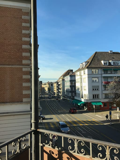 Balcony view with Bus & Tram stop in sight