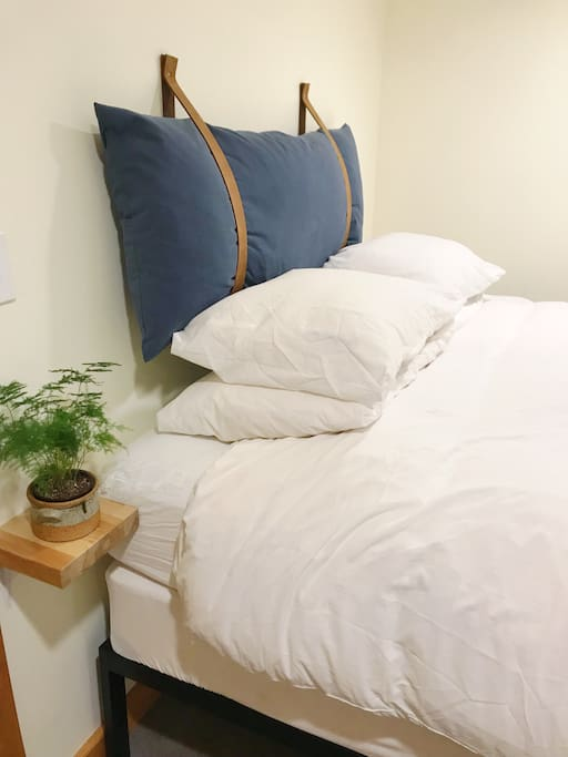 Our studio has a comfortable and warm queen-sized bed