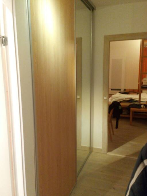 Corridor with wall wardrobe
