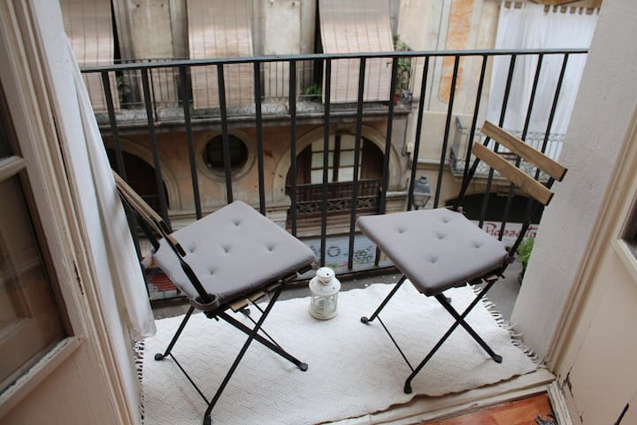 Room with double bed and balcony - Barcelone - Appartement