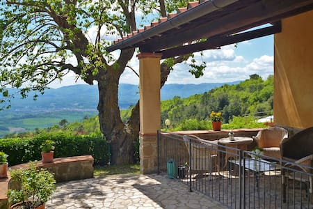 """Il Loggiato"" apt. is located in our 18th century farmhouse, fully restored, on the Pratomagno slopes, with a magnificent view over the Valdarno valley. One bedroom, private porch with view & garden, swimming pool. Free WI-FI area"