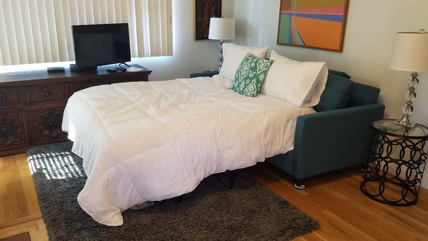 Here is the sofa/bed opened up