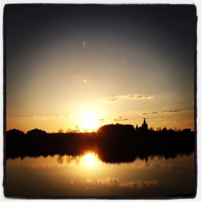 Sunset in Danube River
