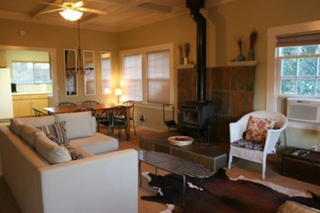 Living and dining rooms at Wine Country Cottage