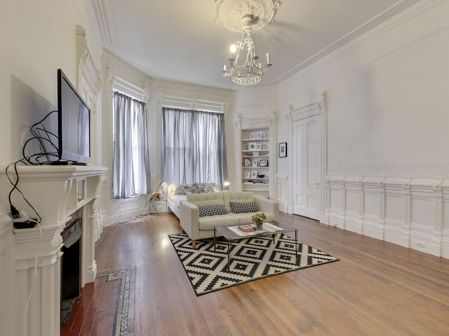 Bedroom is very large with unbelievable ceiling height & classic bay window