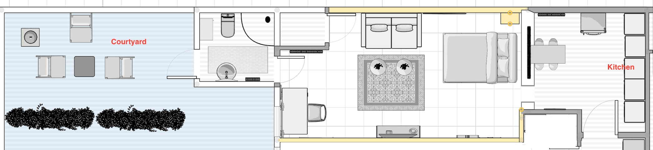 Layout of the studio.  30 sq. Meters (about 300sq Ft) Not including the Courtyard.