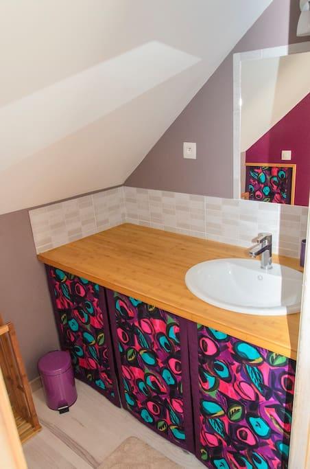 La salle d'eau avec sa vasque.