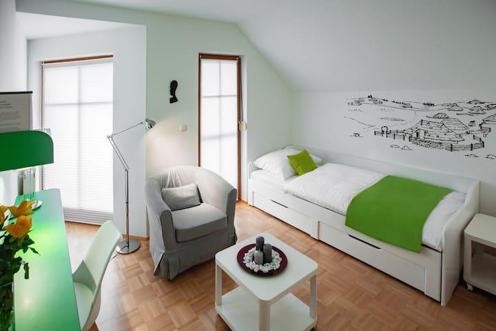 Velika planina bedroom - two single beds.