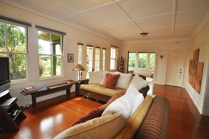 Living room with beautiful wood floors.