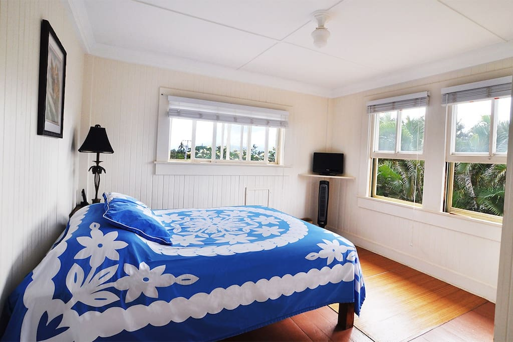 Room 1 has wood floors , Queen bed with TV & WiFi.
