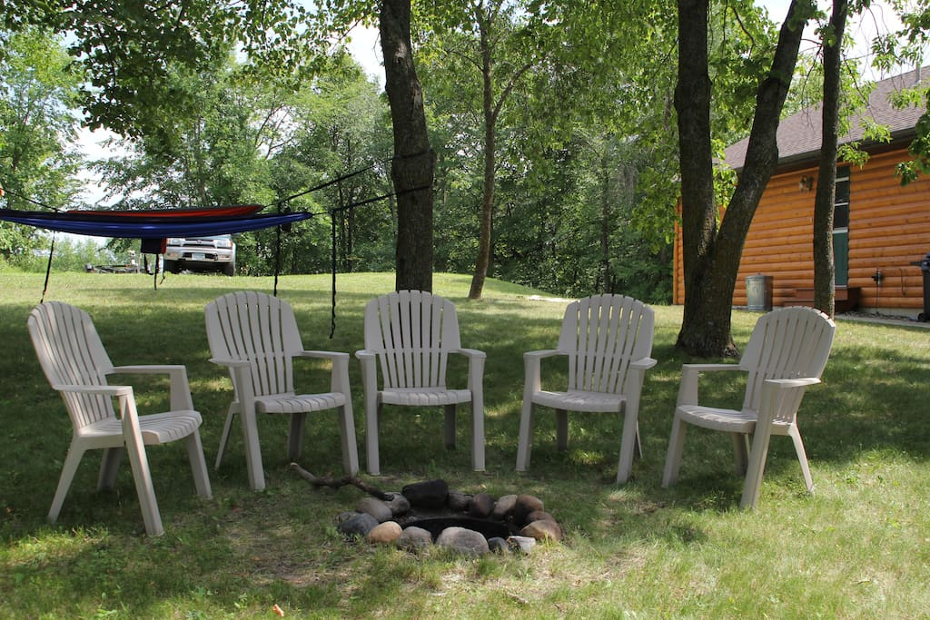 Fire pit with commanding view of Lake Chippewa