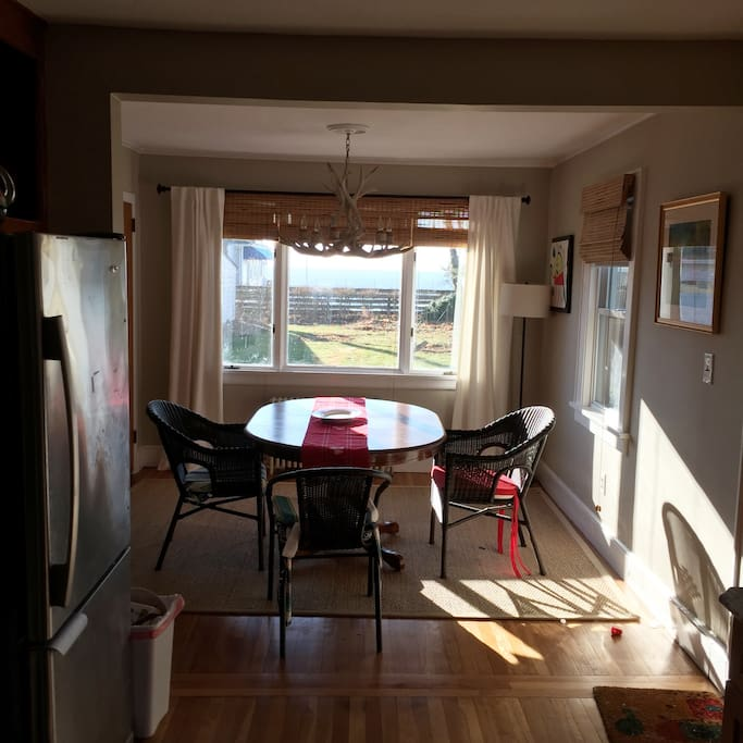 sun drenched dining area
