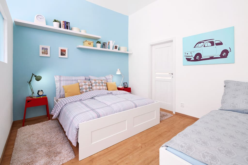 Blue bedroom with Fiat :)