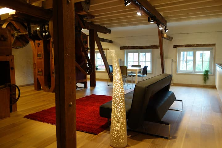 Renovated historic mill loft