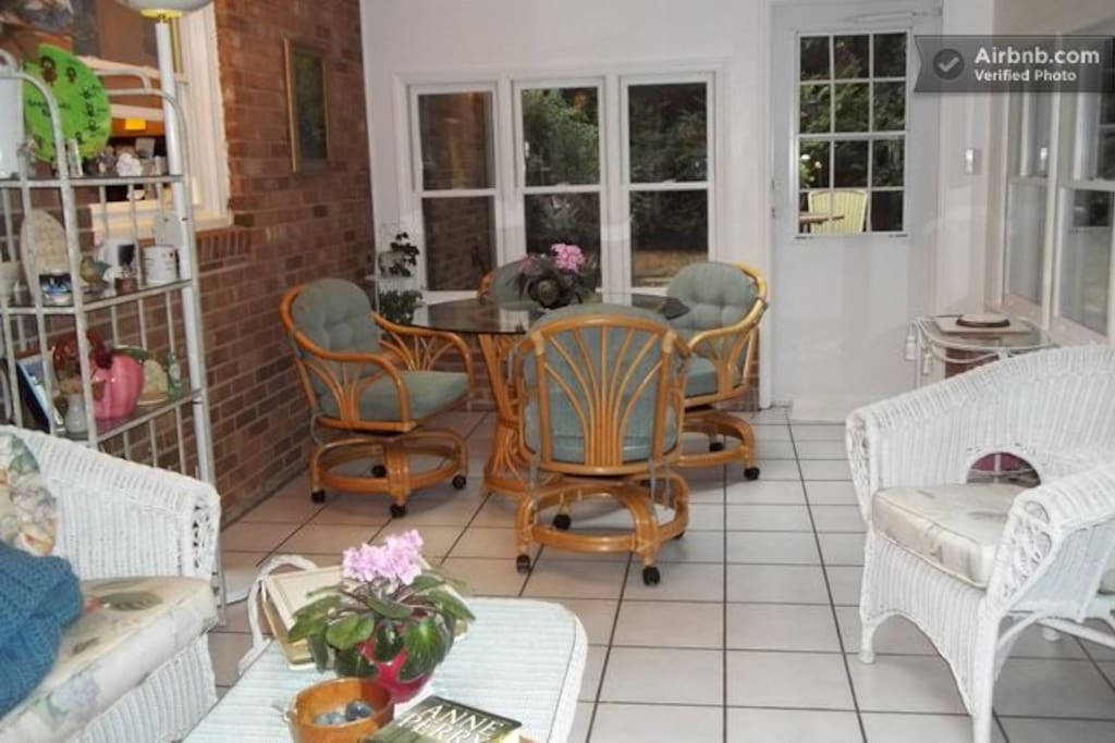 Beautiful sunroom for having meals, reading or relaxing