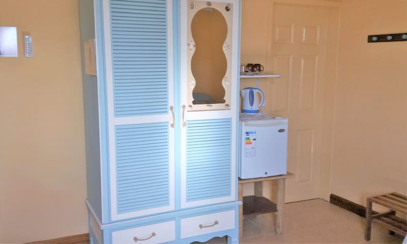 wardrobe and fridge