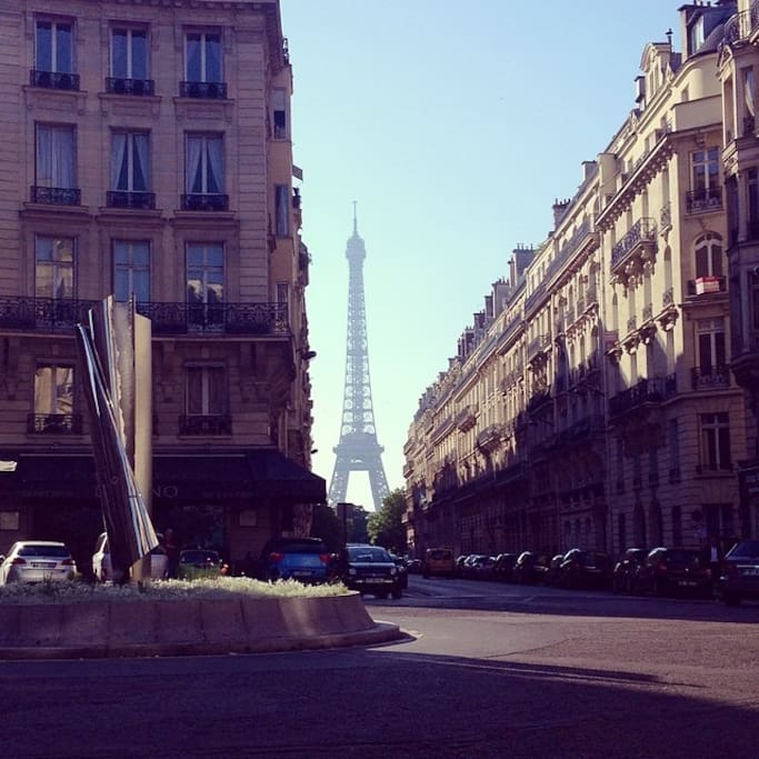 In the same street Eiffel Tower view