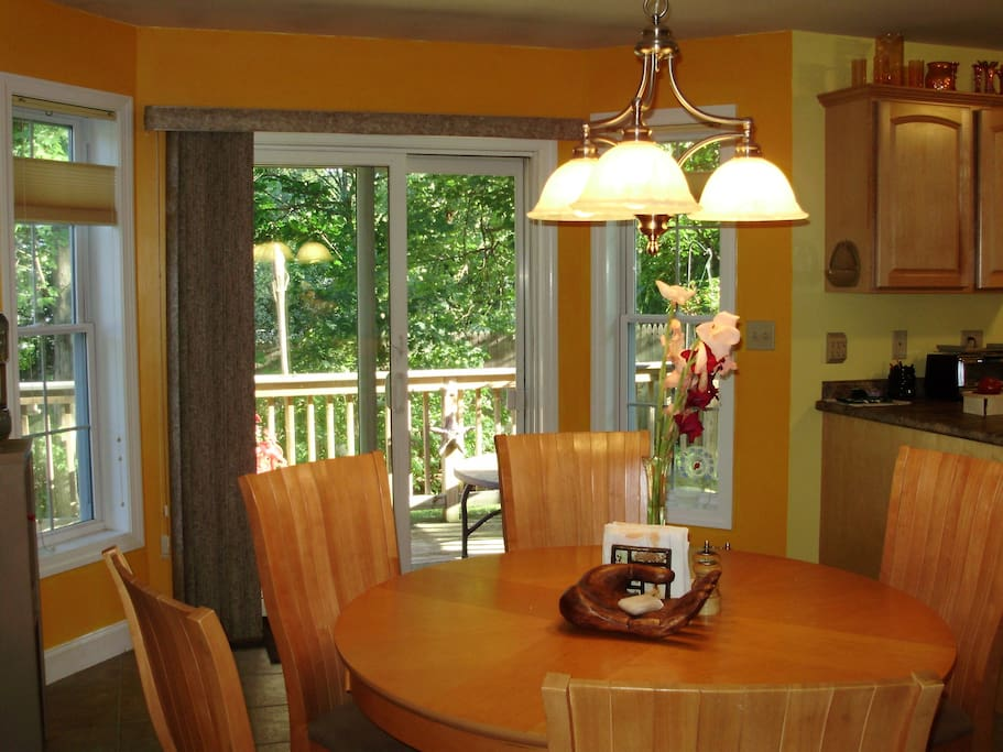 Expansive Dining area overlooking back porch and open to kitchen