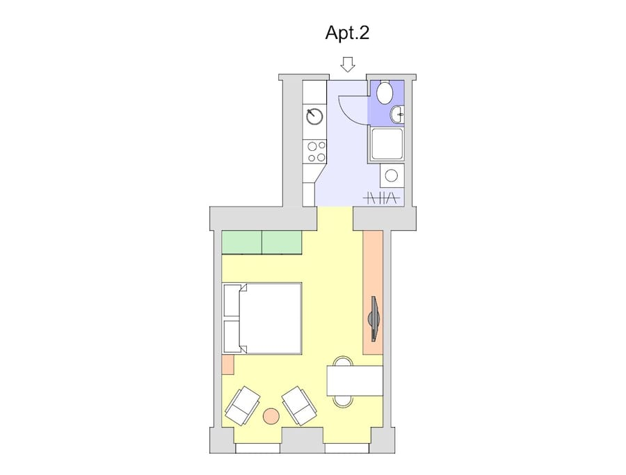 Apt. 2 - 30m2 * Double bed for 2. One extra mattress is available for one persons to sleep on the floor.