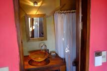 The bathroom...