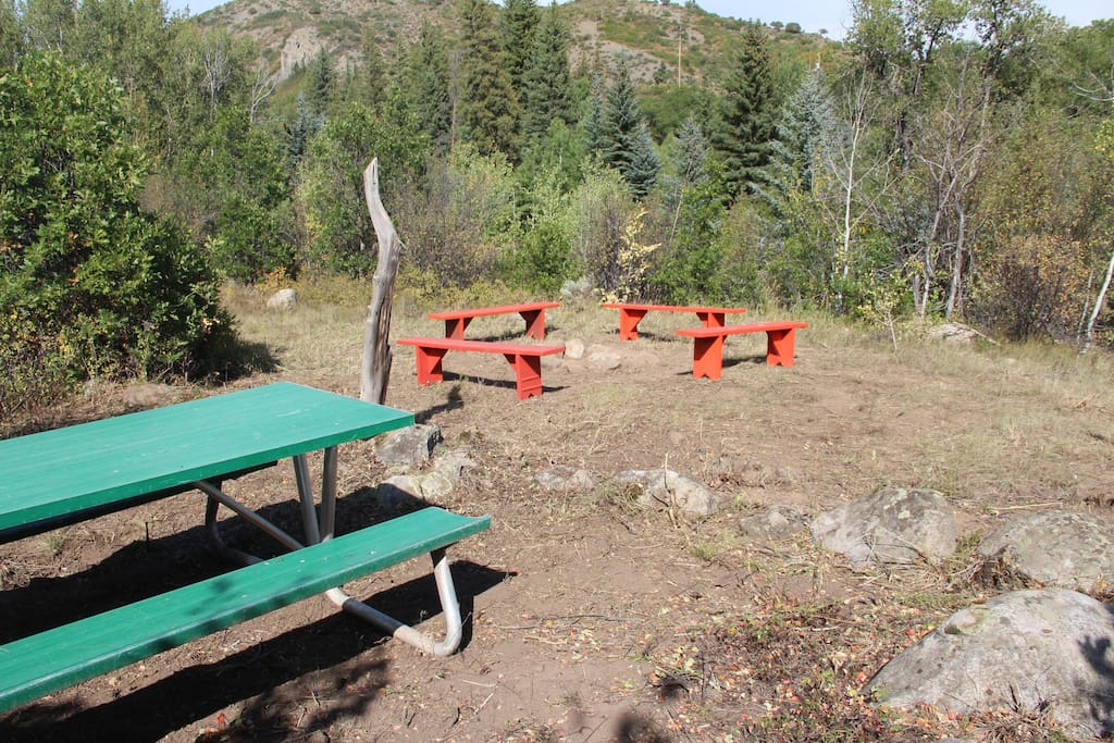 Private picnic table and fire pit.