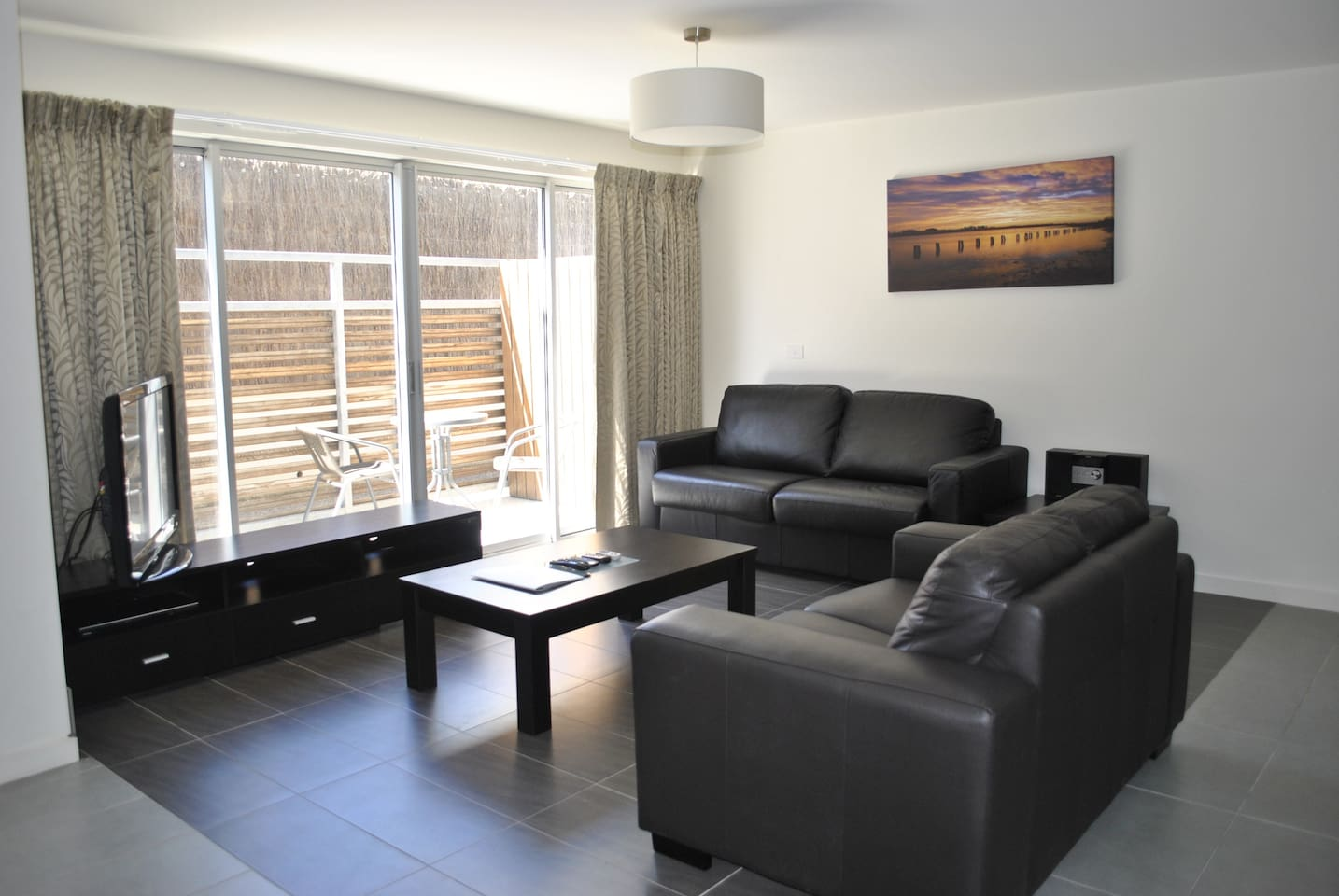 Large living room with double sofa bed for extra guests