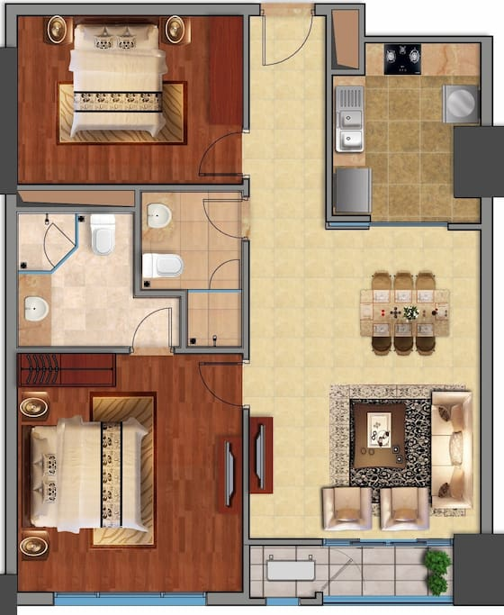 Layout of high quality apartment (95m2) - 1 living room+1 kitchenroom + 2 bedrooms + 2 bathrooms