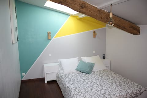 Bright bedroom and private bathroom
