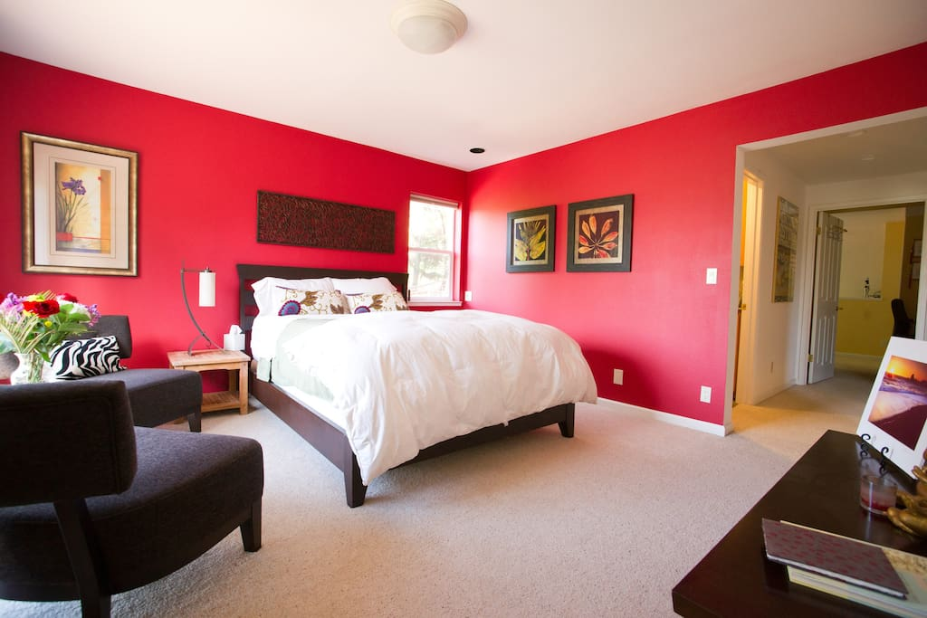 Your room. The Guest Master bedroom, Queen bed and sitting area.