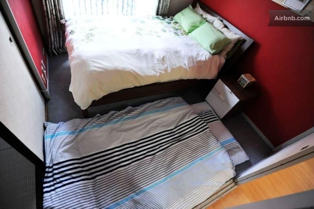 Double bed plus single futon