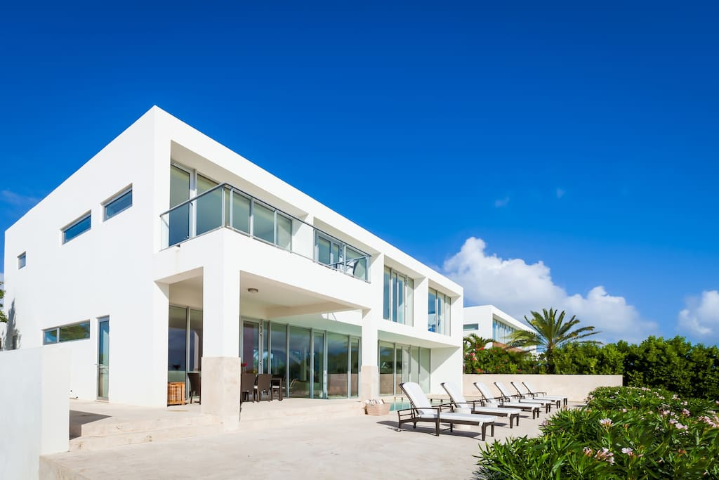 Sleek modern lines against the blue of the sky and sea.
