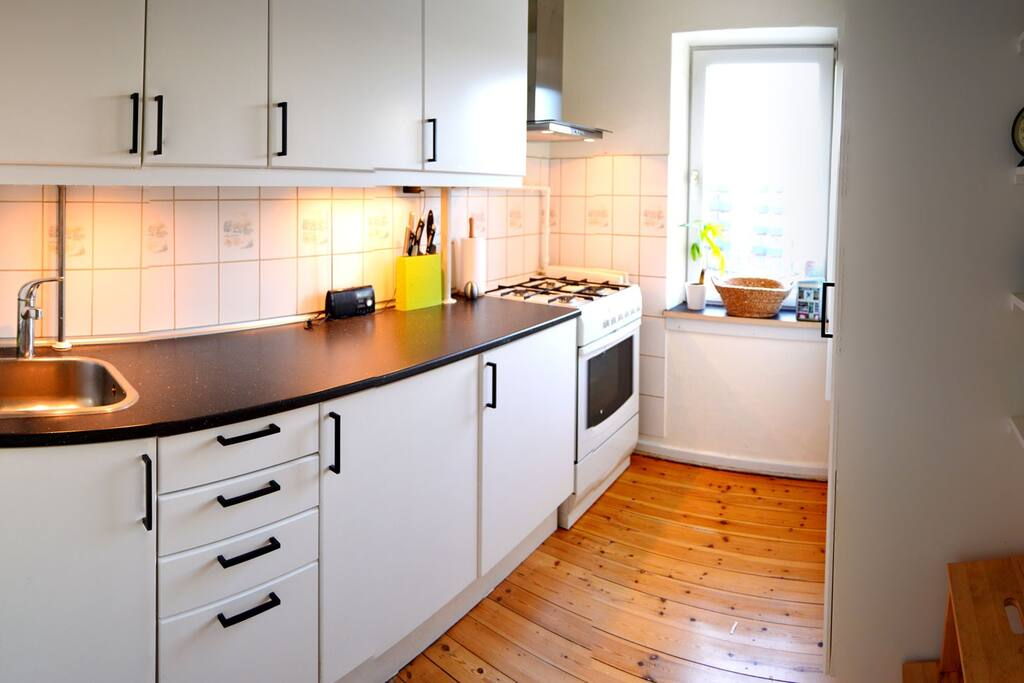 Fully functional kitchen with stove, refrigator, deepfreezer.
