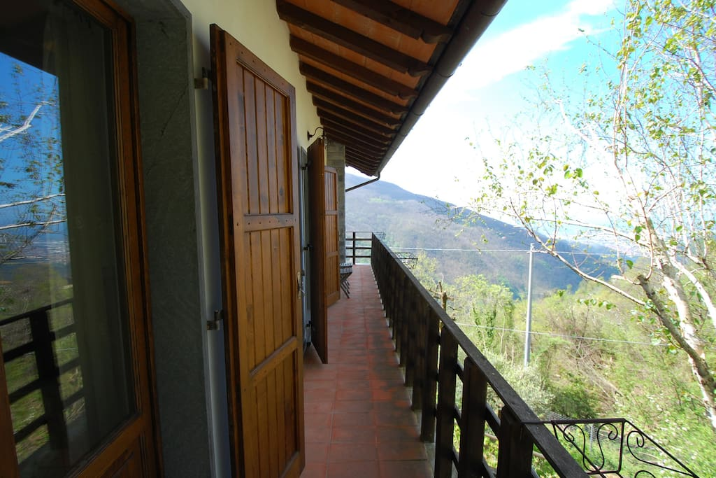 Main first floor balcony with view over the mountains and the mediterranean sea