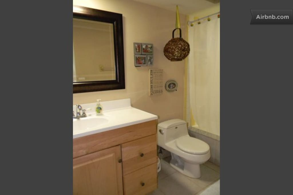 Private bathroom with full shower/tub and single sink. Sometimes this bathroom is shared if there are other guests.  Included for use during your stay: hair dryer and bath towels.
