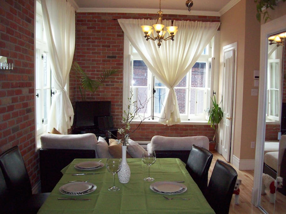 luminous dining room and living room, all included