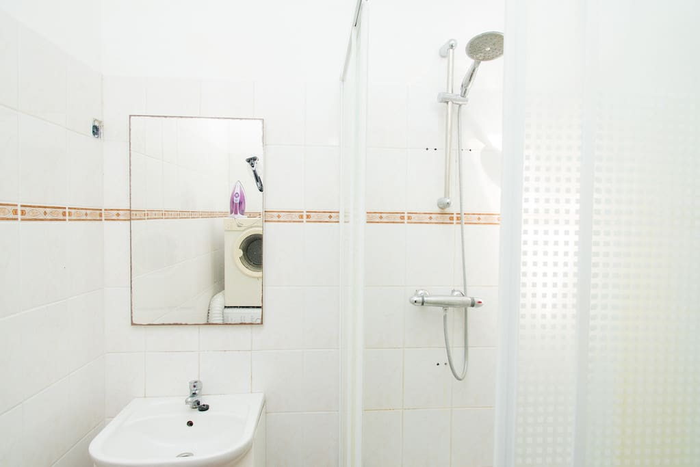 Bathroom, with a comfortable and warm shower.