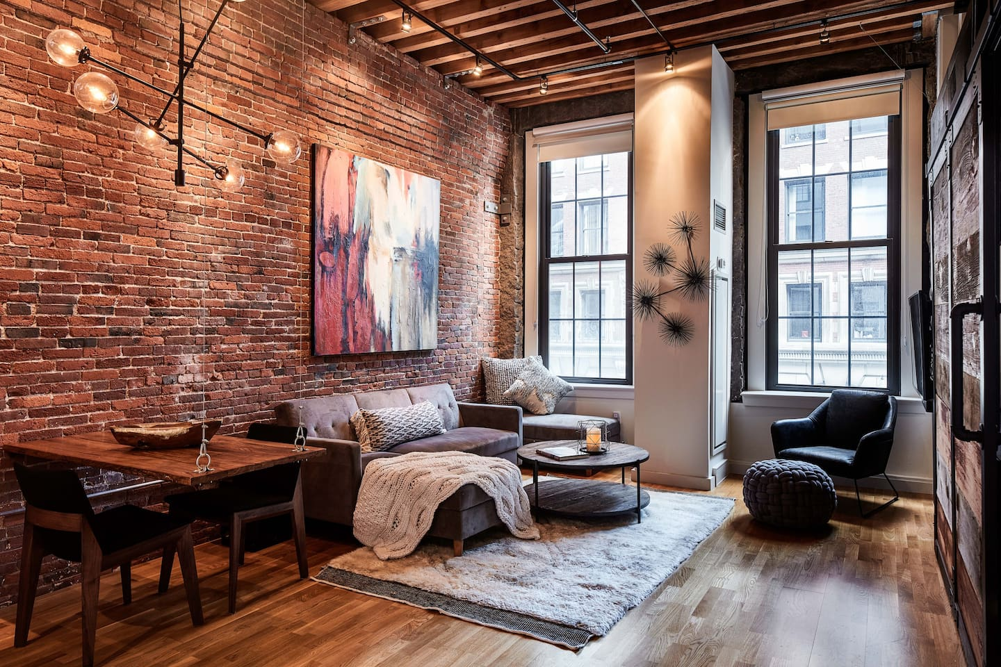 Lots of character in this loft space with soaring 12-foot ceilings