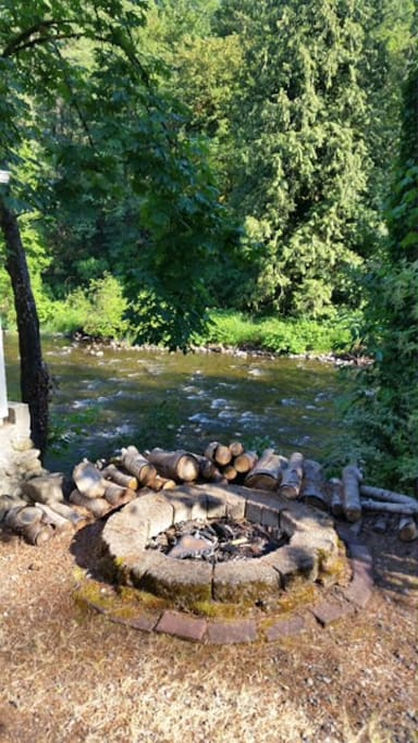 Firepit overlooking river
