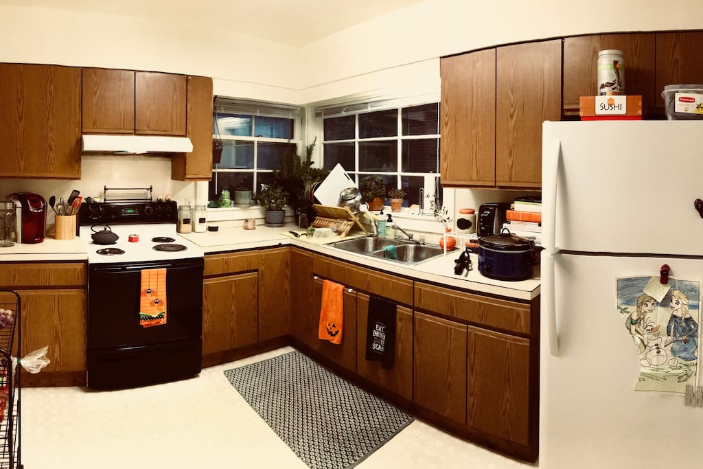The shared kitchen space available for your use.