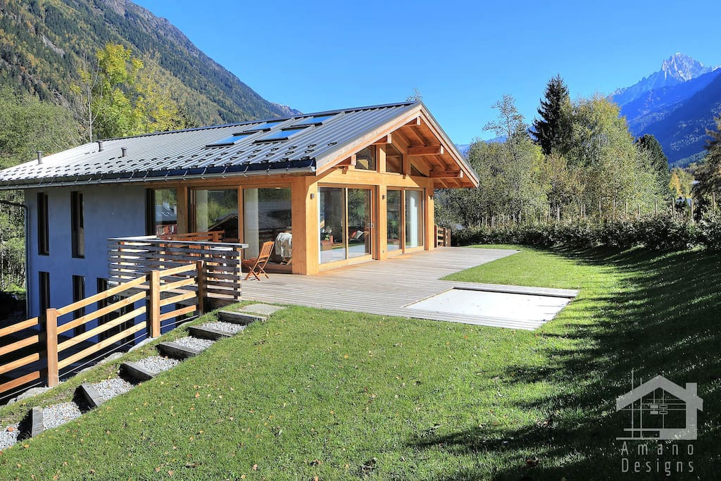 Back of the chalet with a private open area
