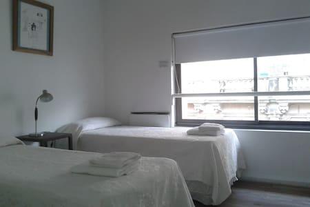 Tres camas individuales + toallas.