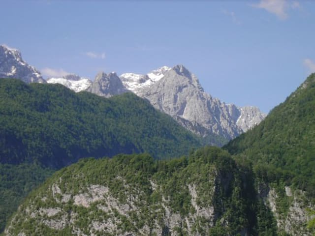 View from the balcony to the Julain Alps and MtTriglav 2864 m