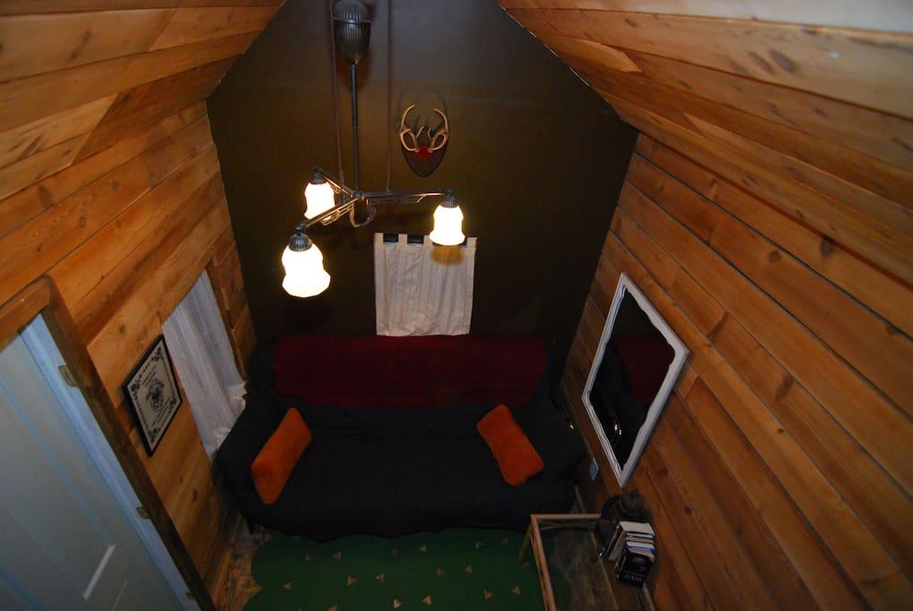 single loft bed sleeps one comfortably