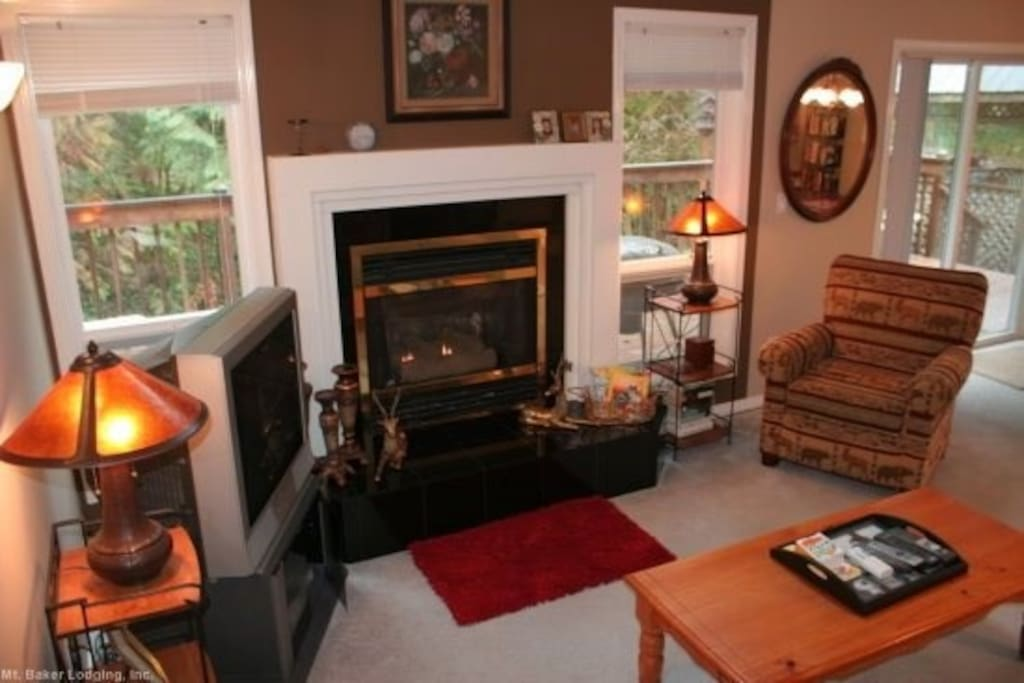 Living room with a gas fireplace