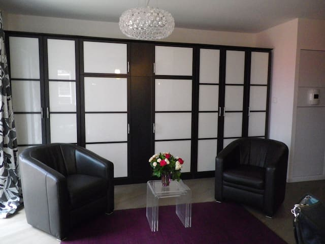 Living Area with Italian Leather Club Chairs and Armoire Lit Containing Three Closets and King Size Bed