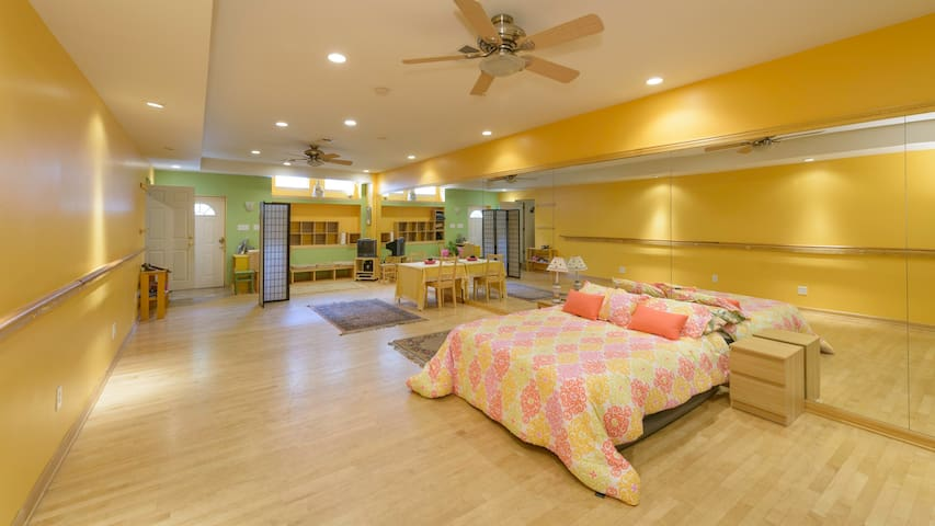 Bright, spacious studio with king-size bed and 2 futon sofa beds (not shown in photo)
