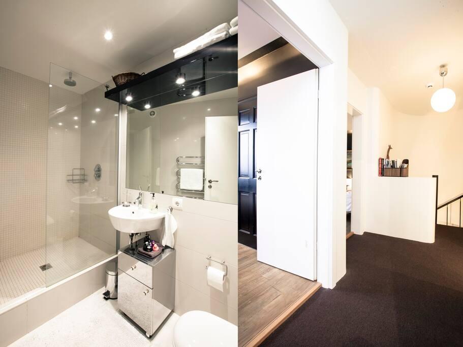Bathroom and hallway.