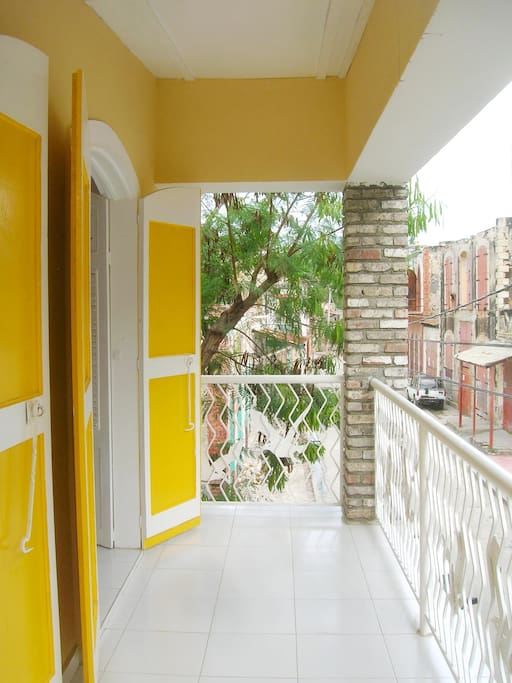 French colonial architecture, nice balcony overlooking historic Jacmel quarters