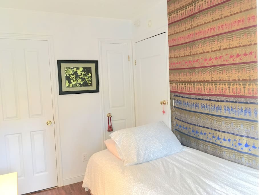 Bedroom is 8 x 10 ft. Private full bathroom attached. Non smoking room. Crisp and clean linens.
